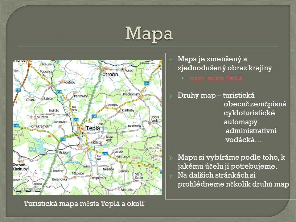 Turistická mapa města Teplá a okolí