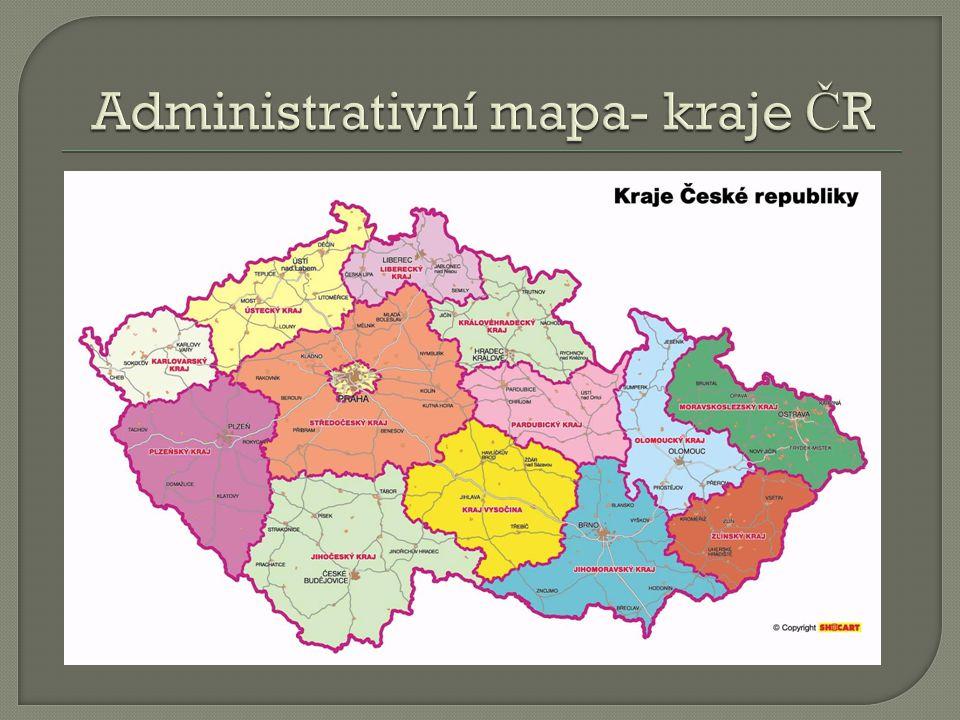 Administrativní mapa- kraje ČR
