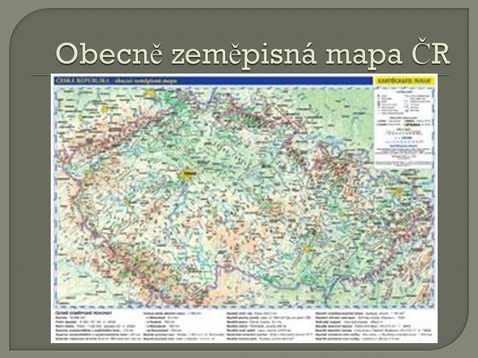 Obecně zeměpisná mapa ČR