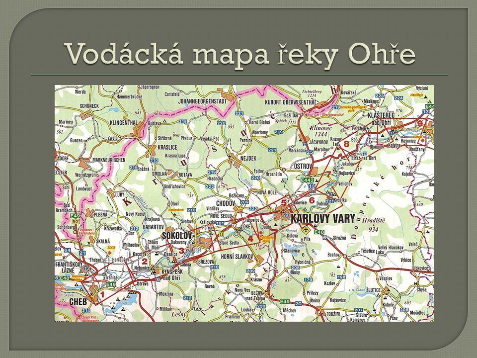 Vodácká mapa řeky Ohře