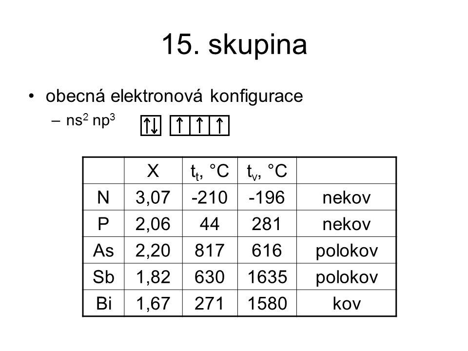 15. skupina obecná elektronová konfigurace X tt, °C tv, °C N 3,07 -210
