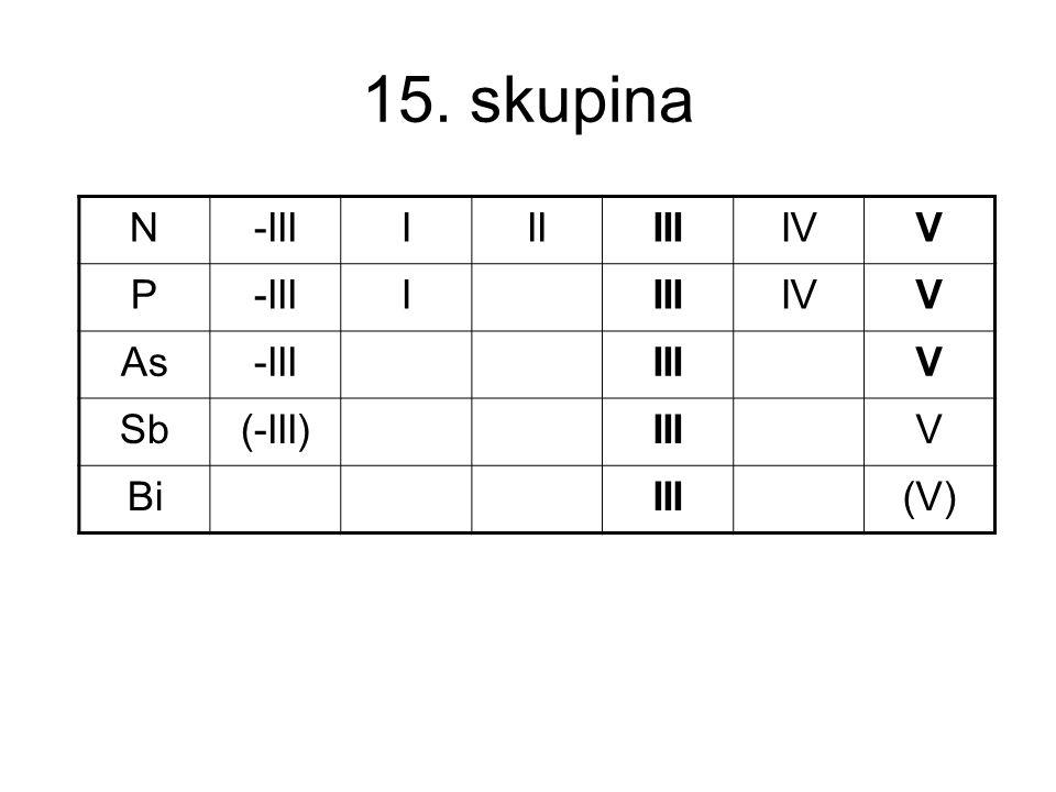 15. skupina N -III I II III IV V P As Sb (-III) Bi (V)