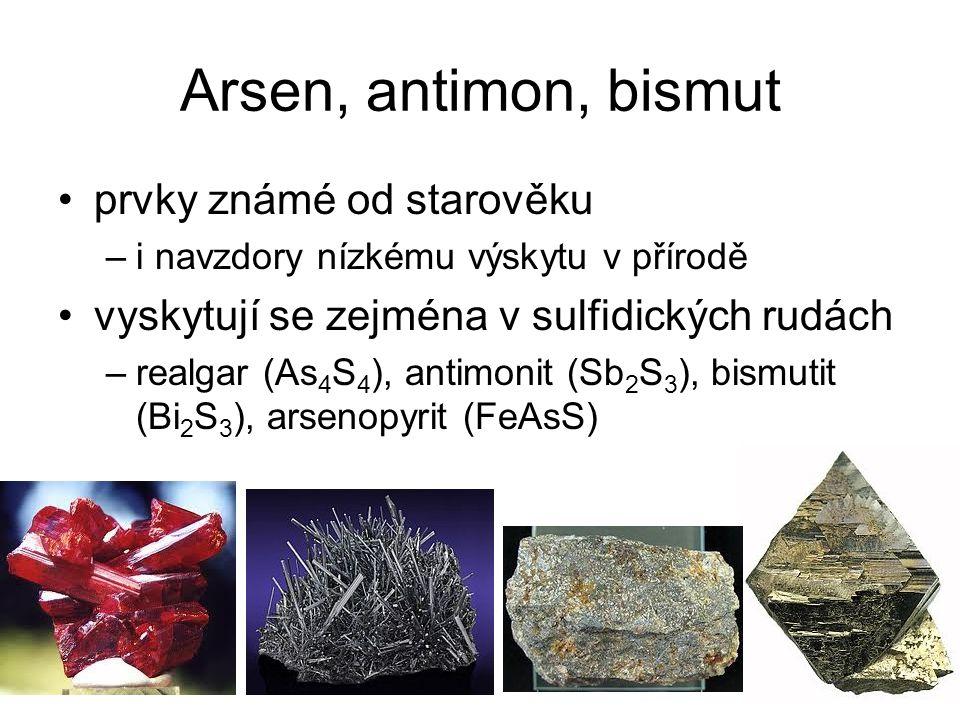 Arsen, antimon, bismut prvky známé od starověku
