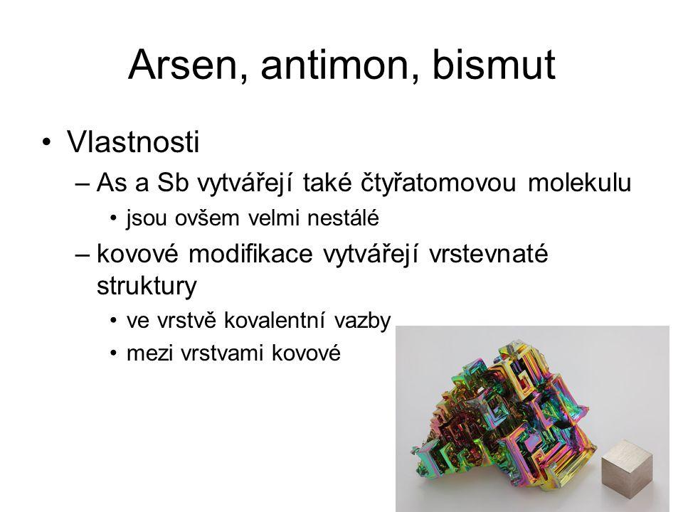 Arsen, antimon, bismut Vlastnosti