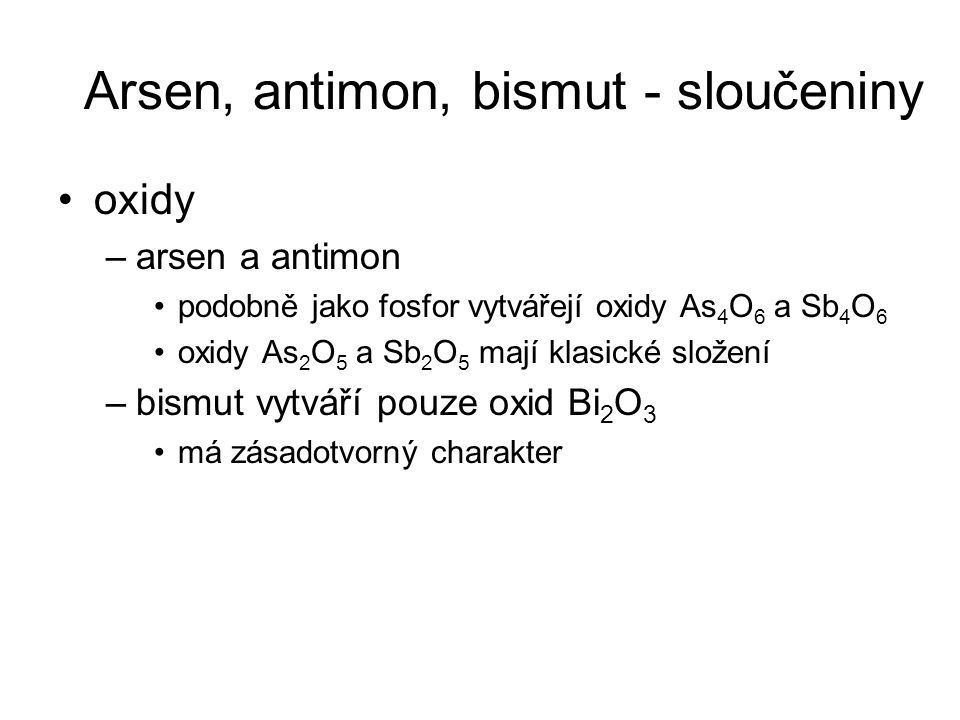 Arsen, antimon, bismut - sloučeniny