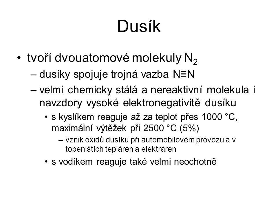Dusík tvoří dvouatomové molekuly N2 dusíky spojuje trojná vazba N≡N