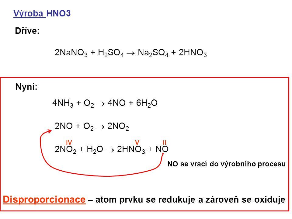 Disproporcionace – atom prvku se redukuje a zároveň se oxiduje