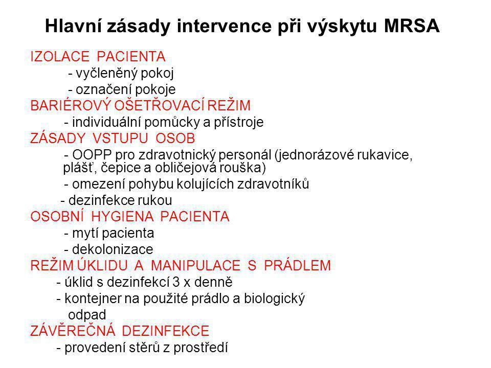 Hlavní zásady intervence při výskytu MRSA
