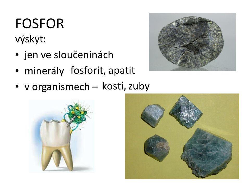 FOSFOR výskyt: jen ve sloučeninách minerály v organismech –