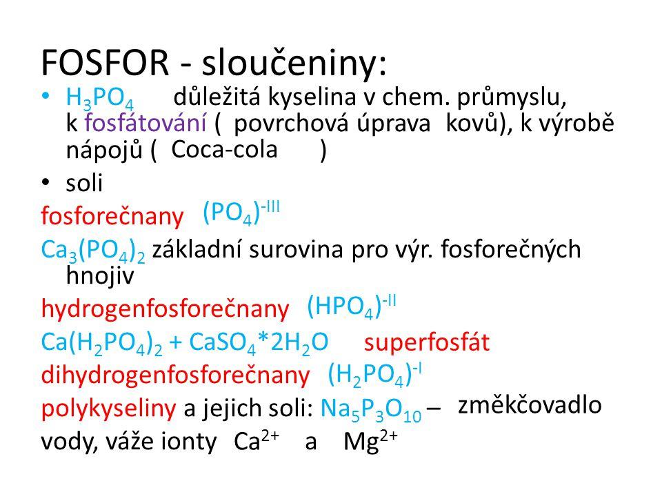 FOSFOR - sloučeniny: