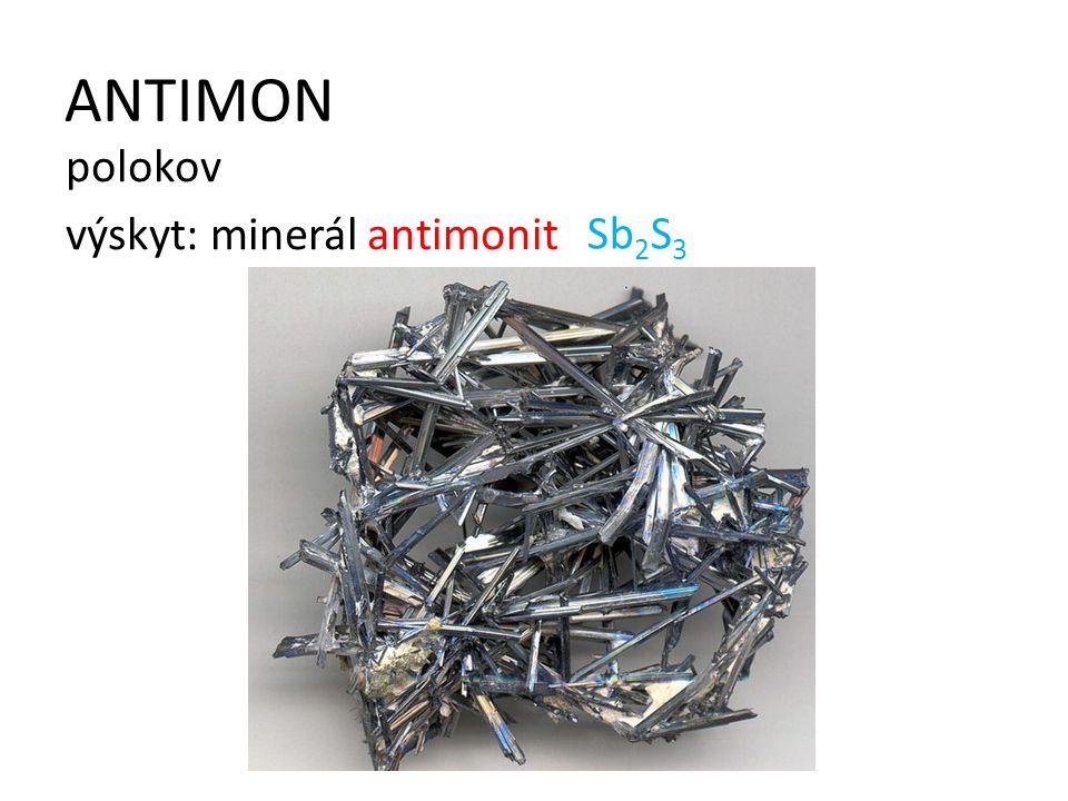 ANTIMON polokov výskyt: minerál antimonit Sb2S3