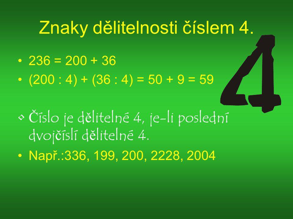Znaky dělitelnosti číslem 4.