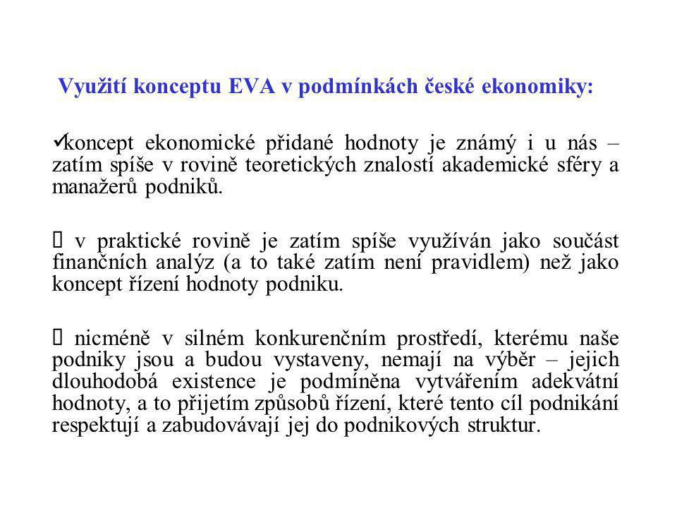Využití konceptu EVA v podmínkách české ekonomiky: