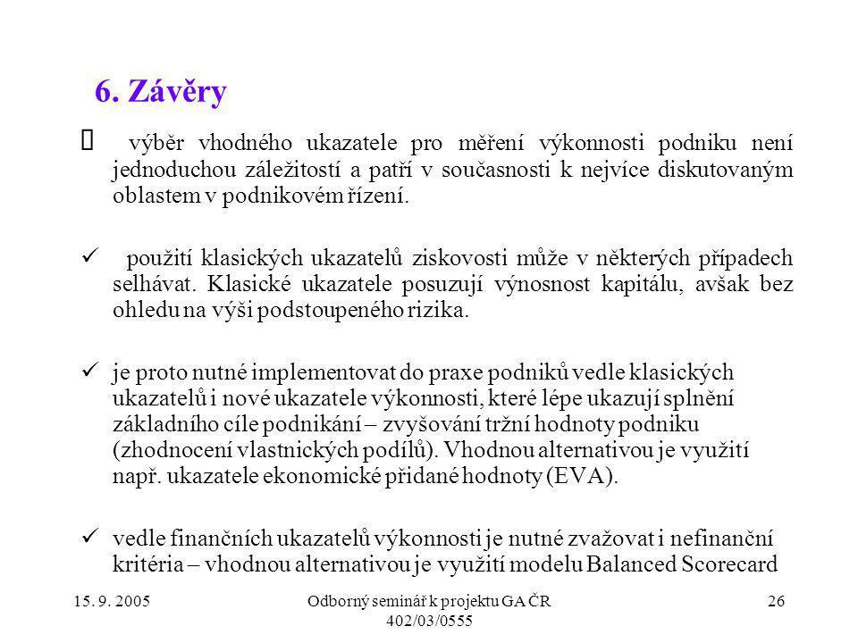 Odborný seminář k projektu GA ČR 402/03/0555