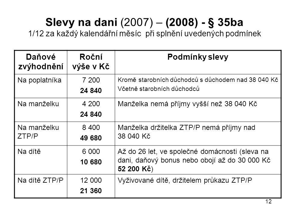 Slevy na dani (2007) – (2008) - § 35ba 1/12 za každý kalendářní měsíc při splnění uvedených podmínek