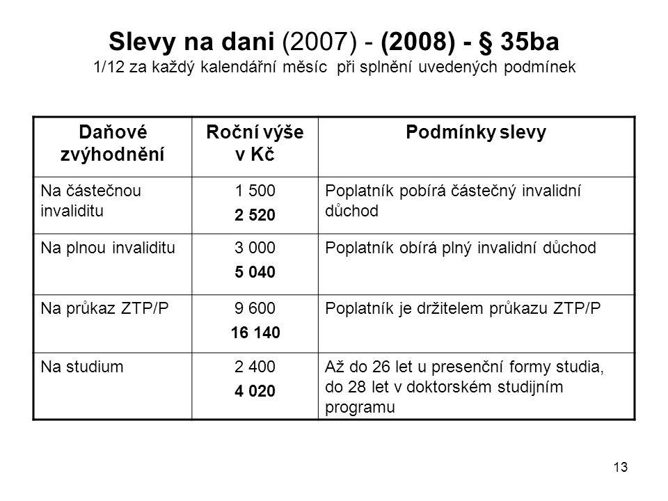 Slevy na dani (2007) - (2008) - § 35ba 1/12 za každý kalendářní měsíc při splnění uvedených podmínek
