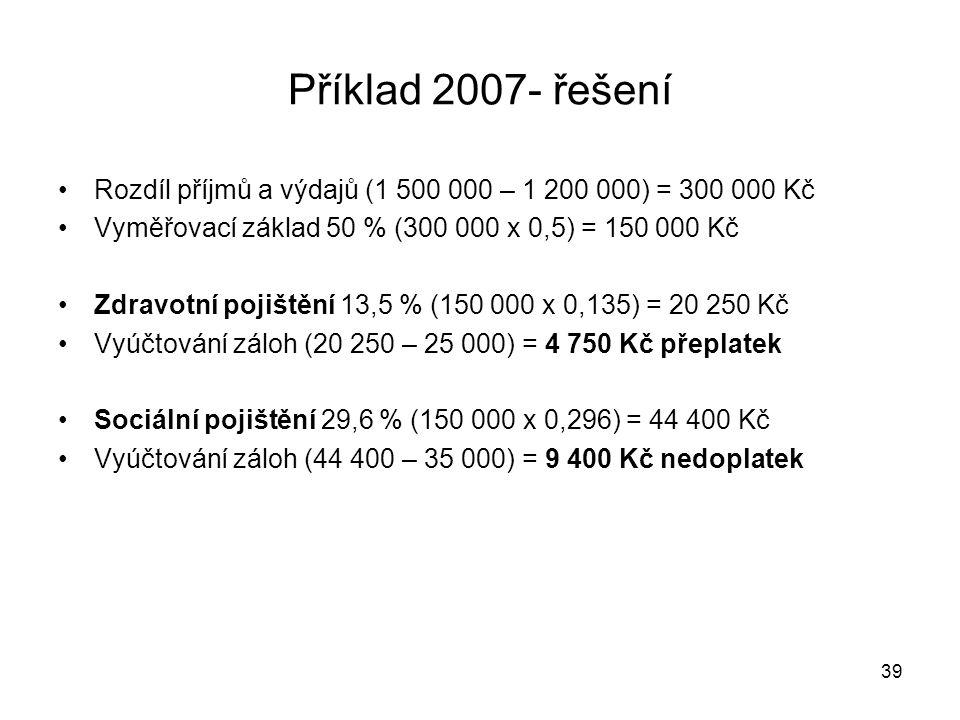 Příklad 2007- řešení Rozdíl příjmů a výdajů (1 500 000 – 1 200 000) = 300 000 Kč. Vyměřovací základ 50 % (300 000 x 0,5) = 150 000 Kč.