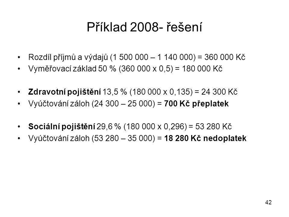 Příklad 2008- řešení Rozdíl příjmů a výdajů (1 500 000 – 1 140 000) = 360 000 Kč. Vyměřovací základ 50 % (360 000 x 0,5) = 180 000 Kč.
