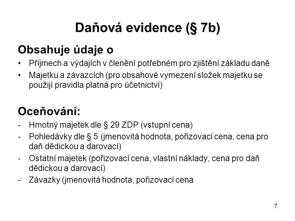 Daňová evidence (§ 7b) Obsahuje údaje o Oceňování: