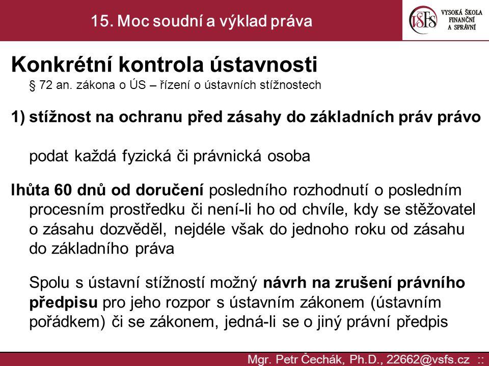 15. Moc soudní a výklad práva