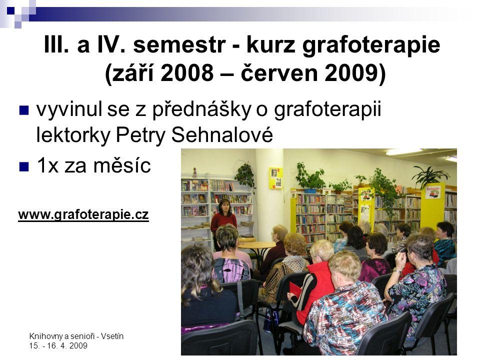 III. a IV. semestr - kurz grafoterapie (září 2008 – červen 2009)