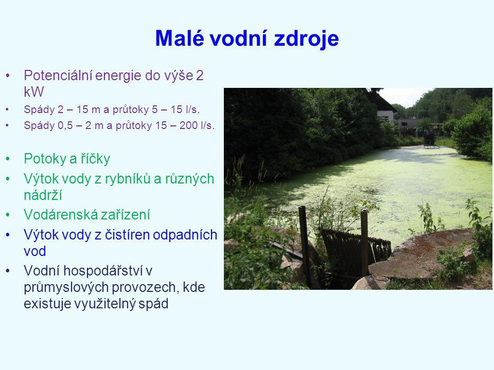 Malé vodní zdroje Potenciální energie do výše 2 kW Potoky a říčky