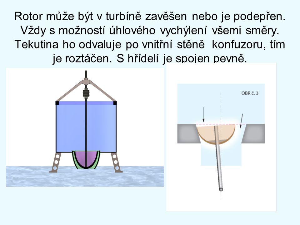 Rotor může být v turbíně zavěšen nebo je podepřen