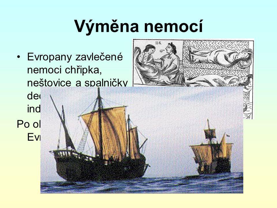 Výměna nemocí Evropany zavlečené nemoci chřipka, neštovice a spalničky decimovaly indiánskou populaci.