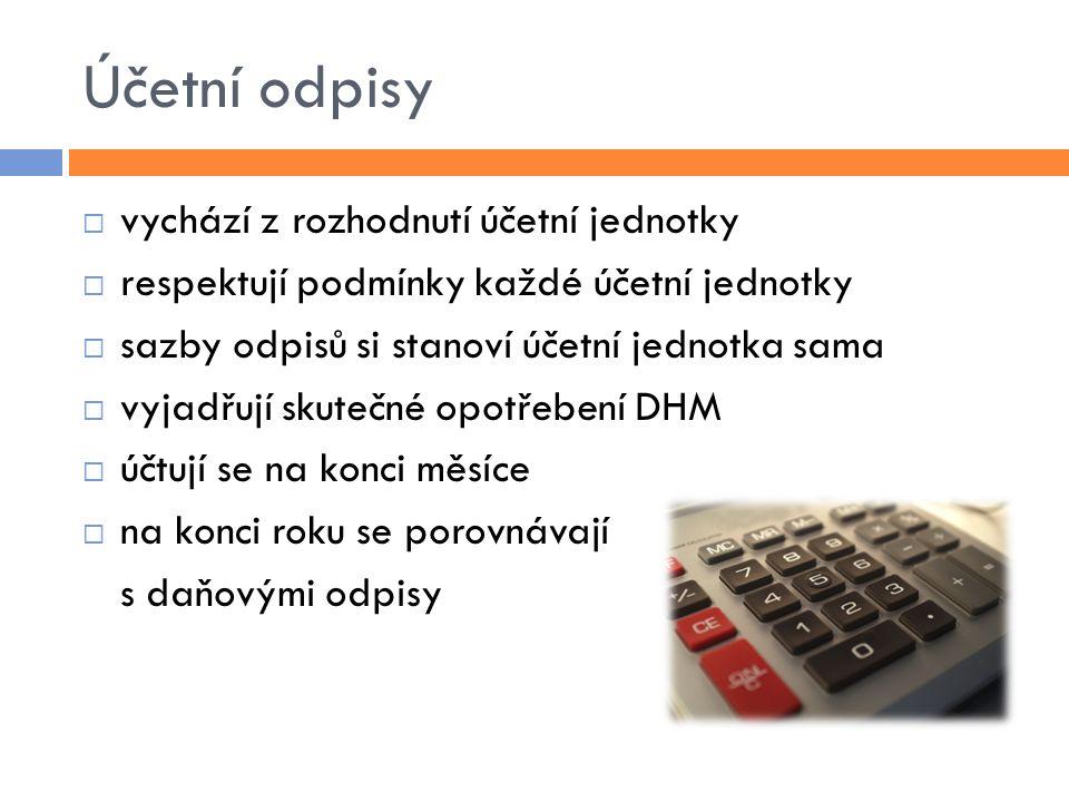 Účetní odpisy vychází z rozhodnutí účetní jednotky