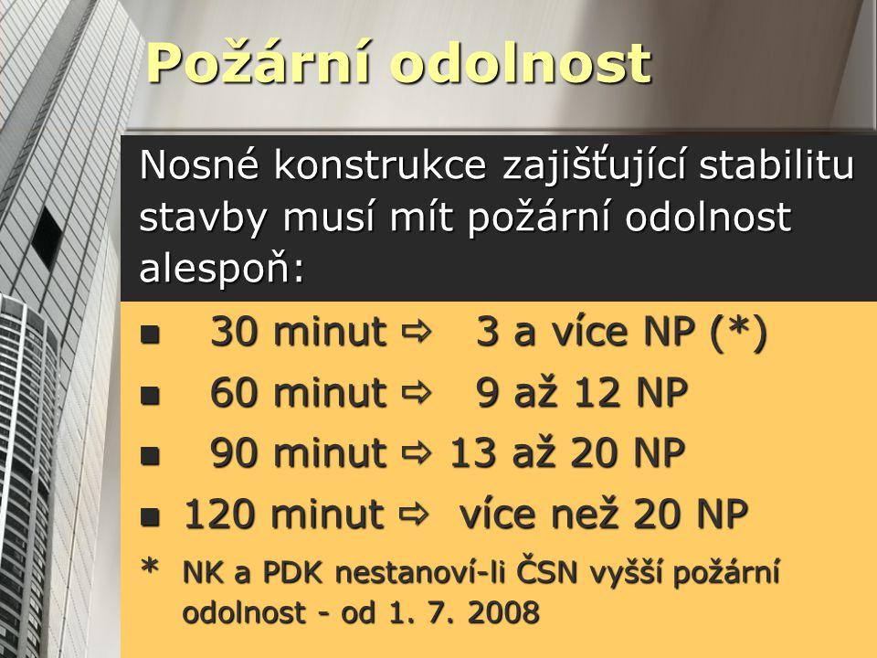 Požární odolnost Nosné konstrukce zajišťující stabilitu stavby musí mít požární odolnost alespoň: 30 minut  3 a více NP (*)