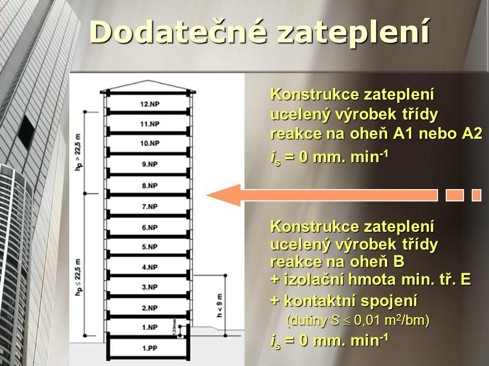 Dodatečné zateplení Konstrukce zateplení ucelený výrobek třídy reakce na oheň A1 nebo A2. is = 0 mm. min-1.