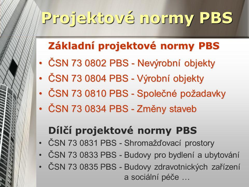 Projektové normy PBS Základní projektové normy PBS