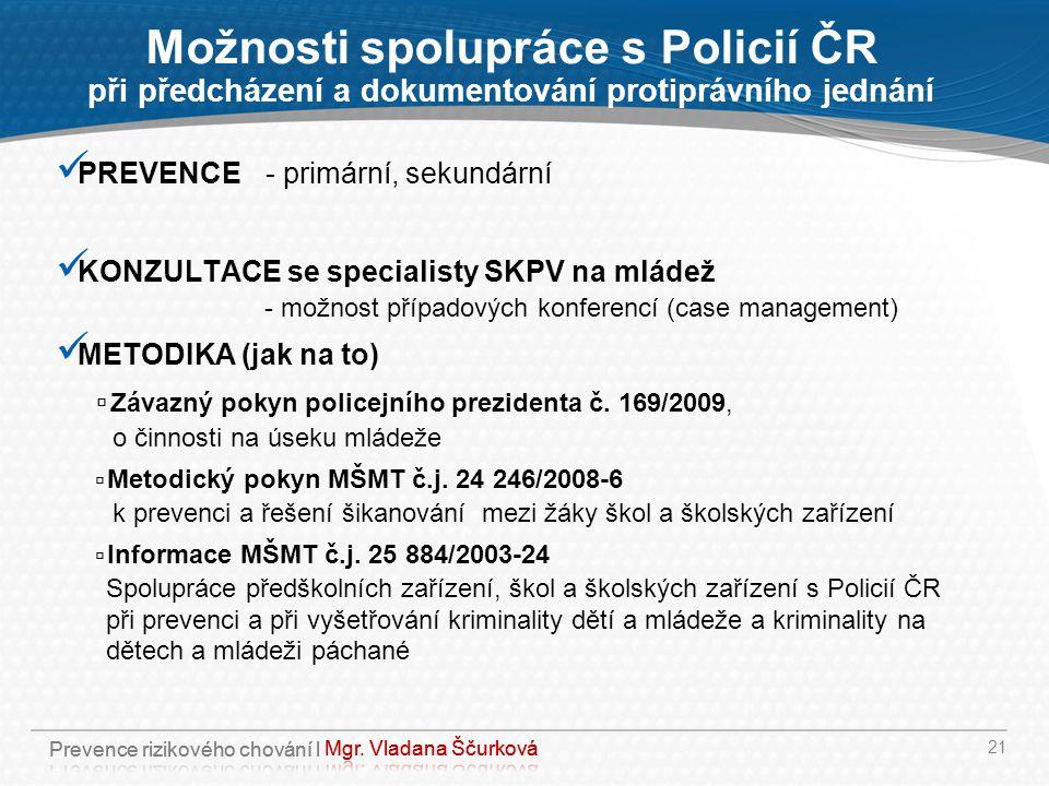 Možnosti spolupráce s Policií ČR při předcházení a dokumentování protiprávního jednání