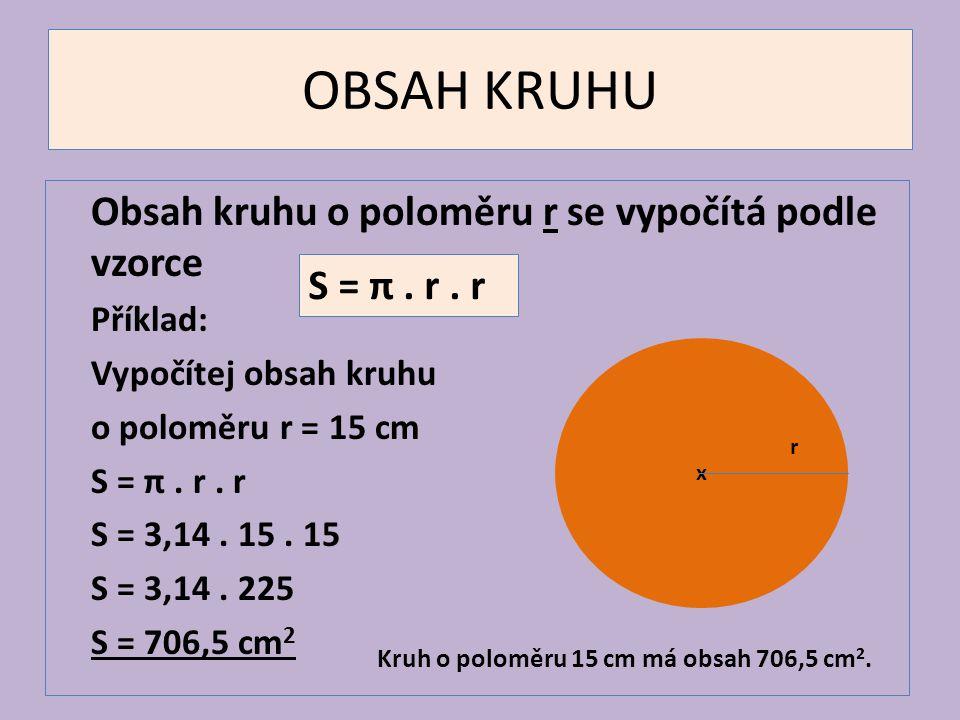 OBSAH KRUHU Obsah kruhu o poloměru r se vypočítá podle vzorce