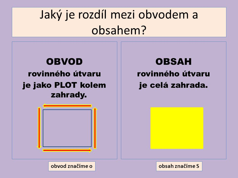 Jaký je rozdíl mezi obvodem a obsahem