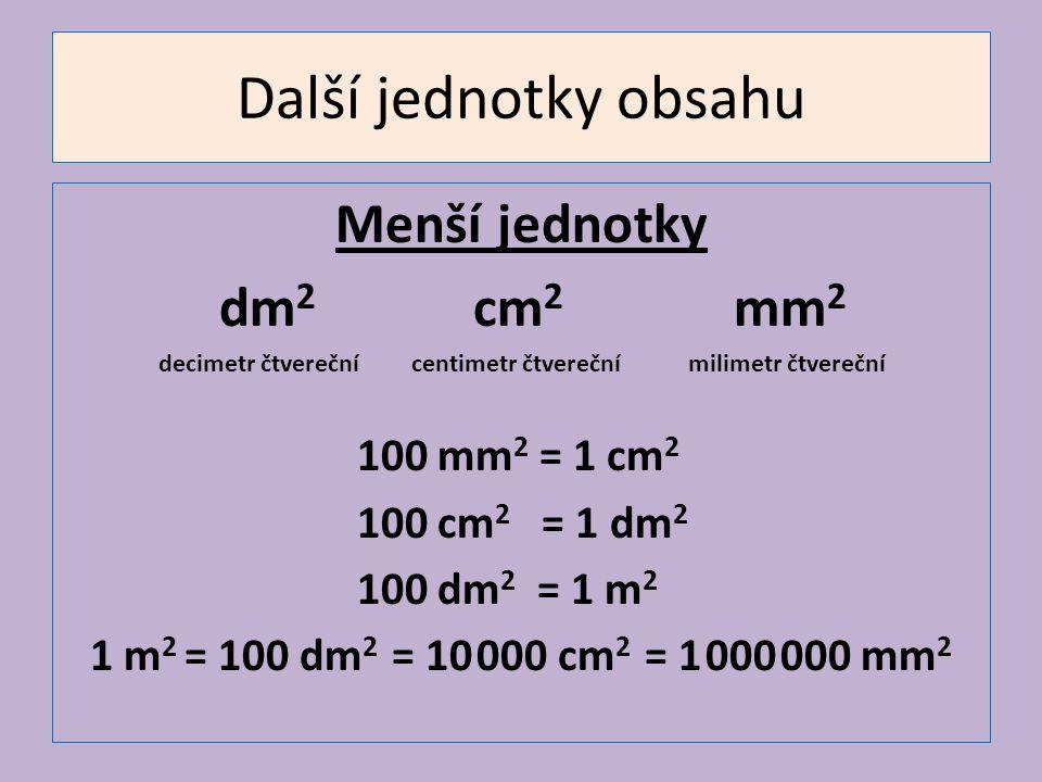 Další jednotky obsahu Menší jednotky dm2 cm2 mm2 100 mm2 = 1 cm2