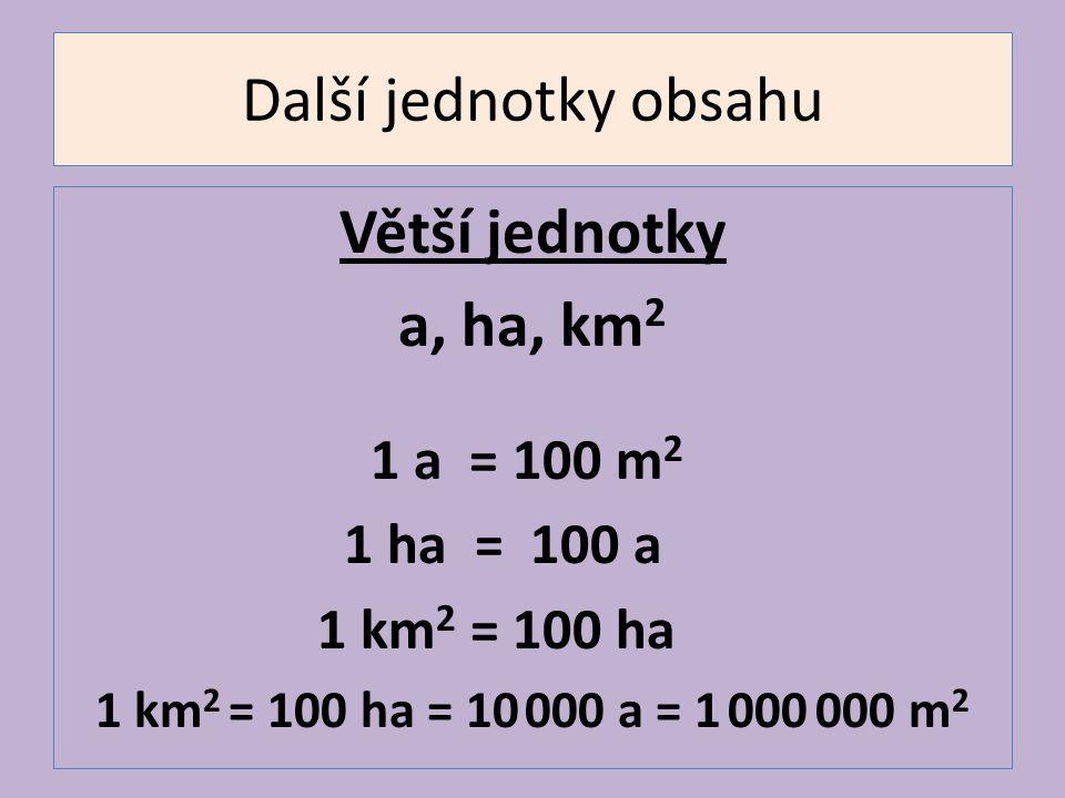 Další jednotky obsahu Větší jednotky a, ha, km2 1 a = 100 m2