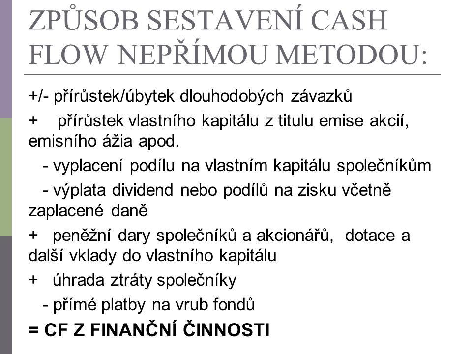 ZPŮSOB SESTAVENÍ CASH FLOW NEPŘÍMOU METODOU: