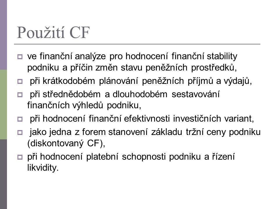 Použití CF ve finanční analýze pro hodnocení finanční stability podniku a příčin změn stavu peněžních prostředků,