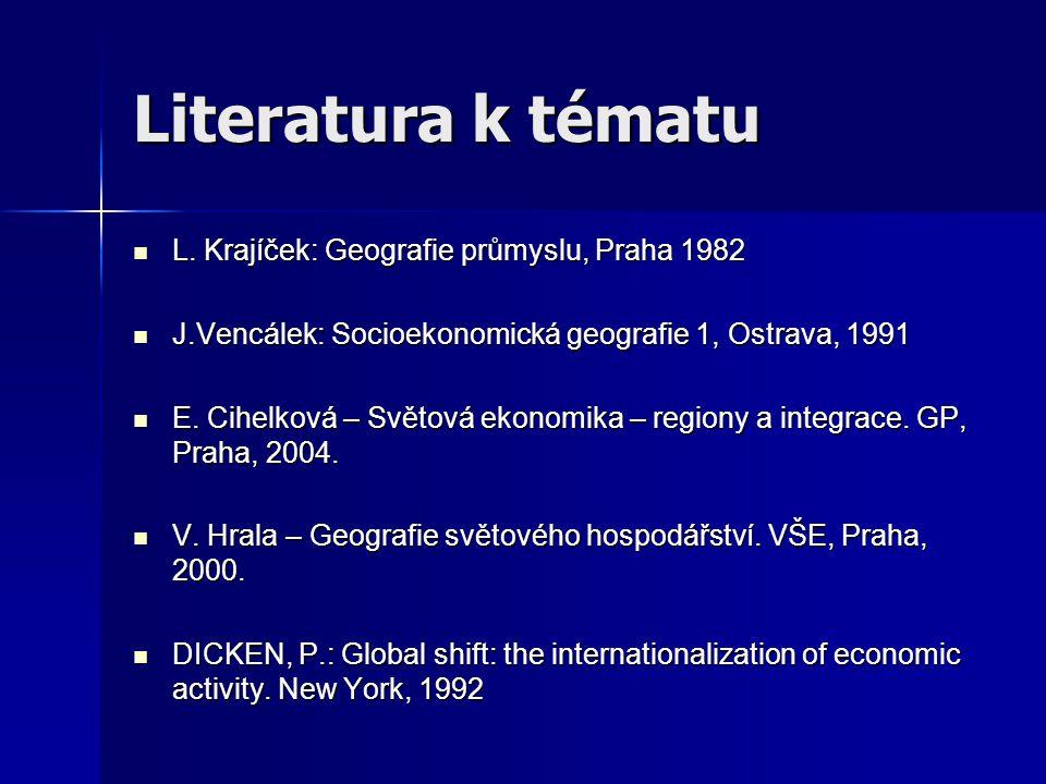 Literatura k tématu L. Krajíček: Geografie průmyslu, Praha 1982