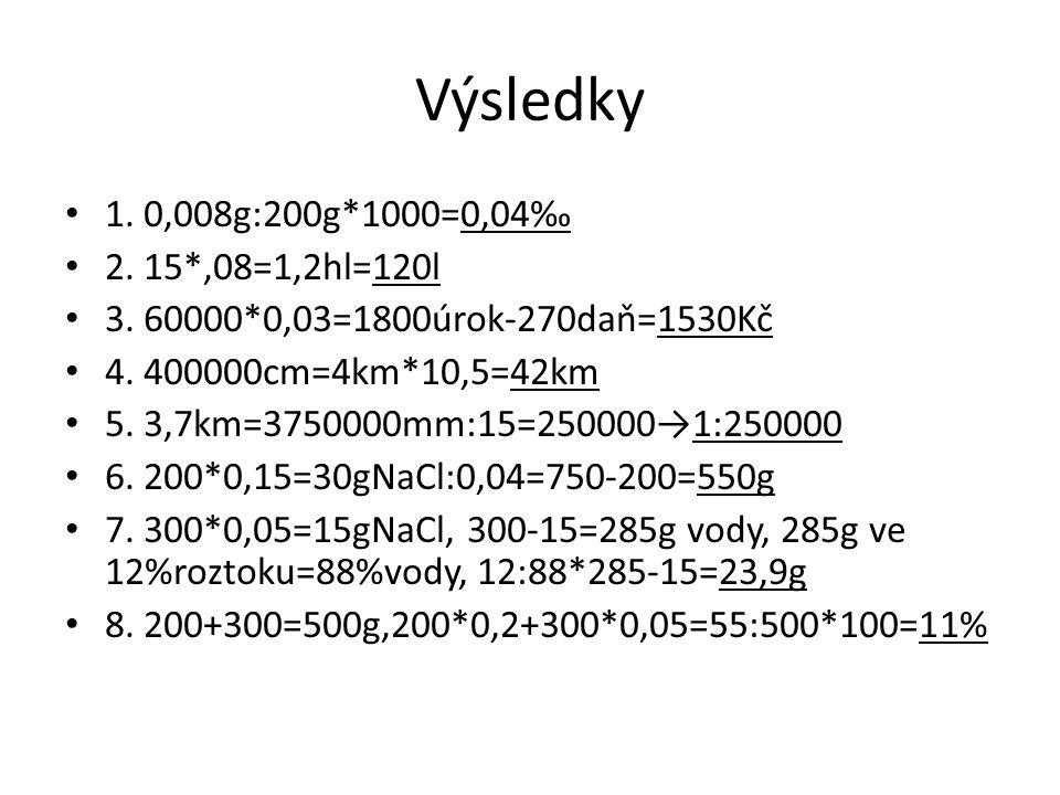 Výsledky 1. 0,008g:200g*1000=0,04‰ 2. 15*,08=1,2hl=120l