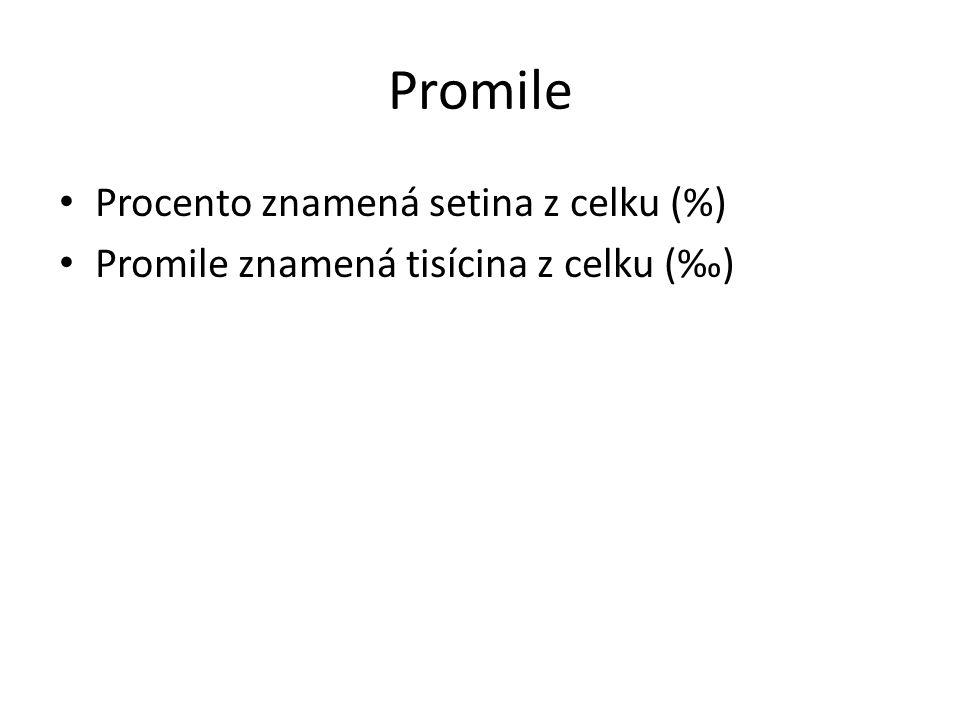 Promile Procento znamená setina z celku (%)
