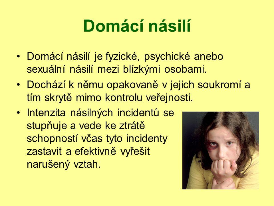 Domácí násilí Domácí násilí je fyzické, psychické anebo sexuální násilí mezi blízkými osobami.