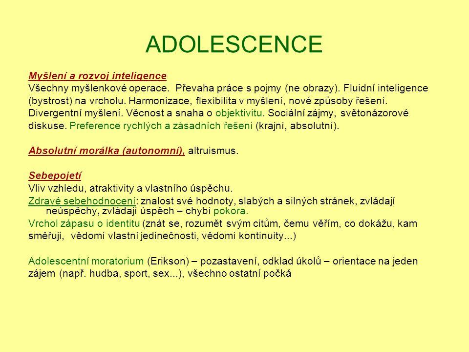 ADOLESCENCE Myšlení a rozvoj inteligence