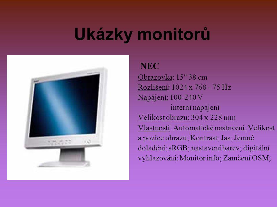 Ukázky monitorů NEC Obrazovka: 15 38 cm Rozlišení: 1024 x 768 - 75 Hz