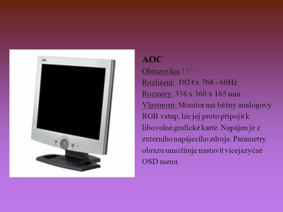 AOC Obrazovka: 15 Rozlišení: 1024 x 768 - 60Hz