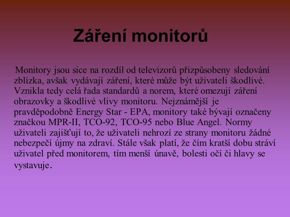 Záření monitorů