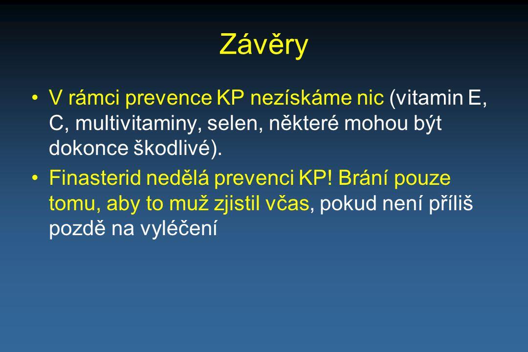 Závěry V rámci prevence KP nezískáme nic (vitamin E, C, multivitaminy, selen, některé mohou být dokonce škodlivé).