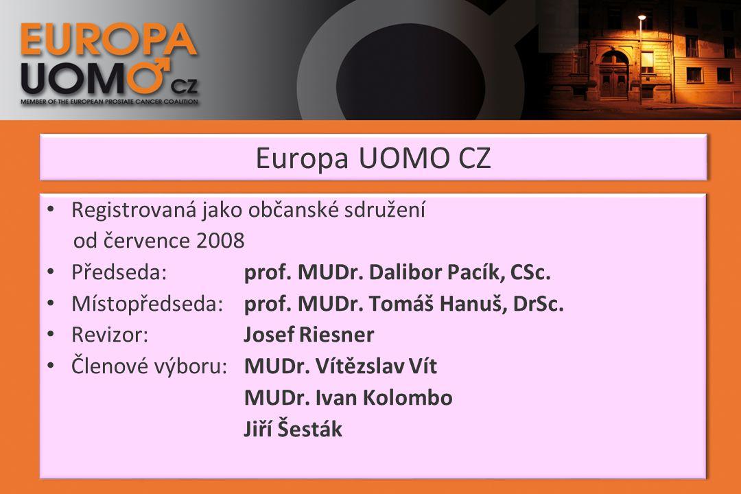 Europa UOMO CZ Registrovaná jako občanské sdružení od července 2008