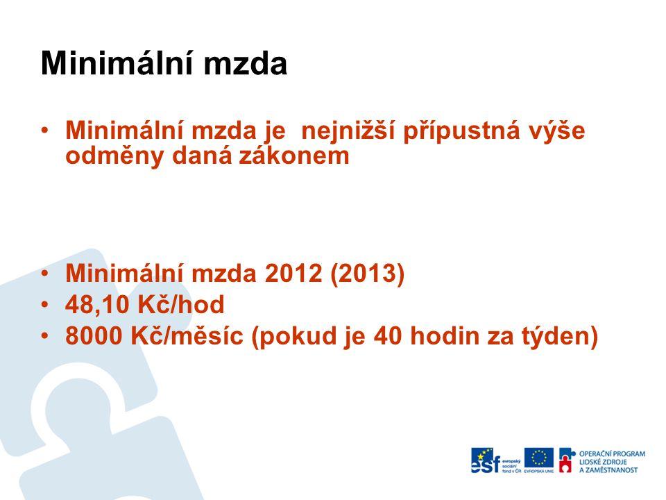 Minimální mzda Minimální mzda je nejnižší přípustná výše odměny daná zákonem. Minimální mzda 2012 (2013)